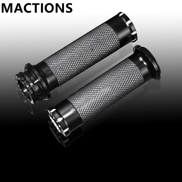 """Motorcycle Handle Bar Handle Grips Black CNC 1""""25mm Handlebar Hand Grips Fit For Harley Sportster Touring Dyna Softail Custom"""