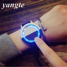 YANGTE Creative Personality Minimalist Leather Waterproof LED Watch Men Women Couple Watch Smart Electronics Casual Watches K79