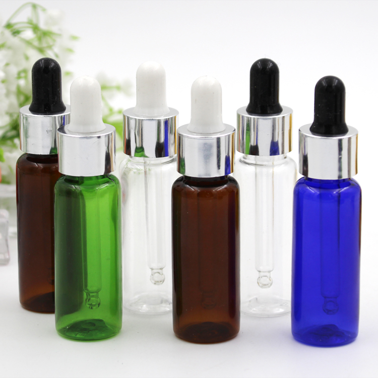 5pcs/lot 10ml 15ml 20ml Empty PET Aluminum Dropper Oil Essential Bottle In Refillable Drop Liquid Pipette Bottles Wholesale glass bottle with pure dropper perfume sample tubes for essential oil liquid reagent pipette refillable bottle empty 30 60ml