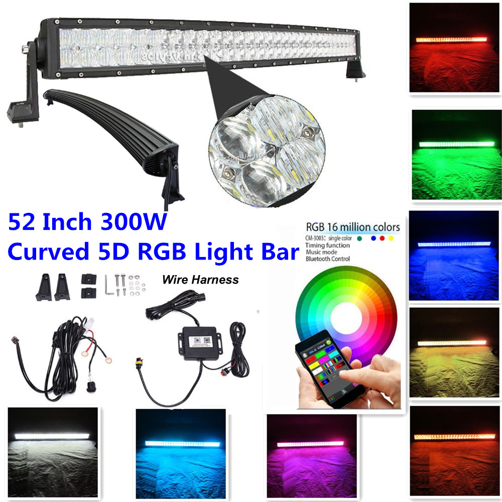 Honzdda 52 Quot Curved Light Bar 300w Millions Color Changing