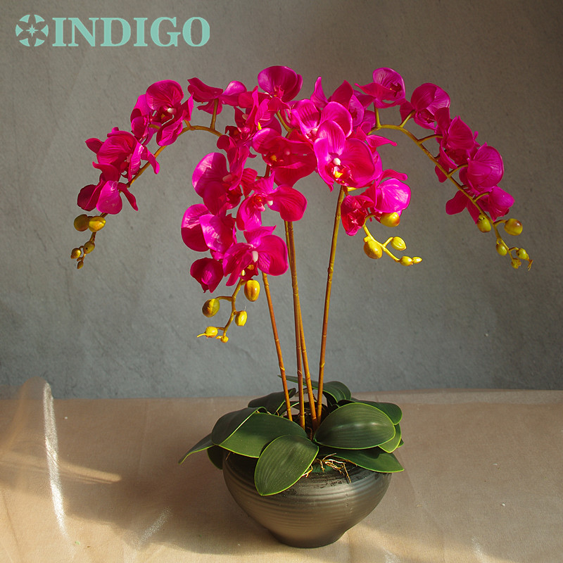 Bloemstuk Orchideeën (4st orchidee + 3st blad) Real Touch Bloem - Feestversiering en feestartikelen - Foto 5
