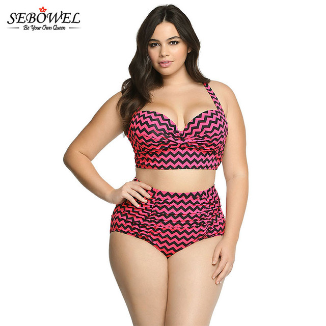 ef69918af6d20 SEBOWEL New Plus Size Striped Bikini set Vintage High Waist Swimsuit Women  Push Up Bathing Suit