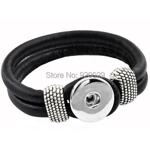 P00003  10color Snap Button Bracelet&Bangles Newest real leather Bracelet For Women 18mm charm button Rivca Snap Button Jewelry Браслет