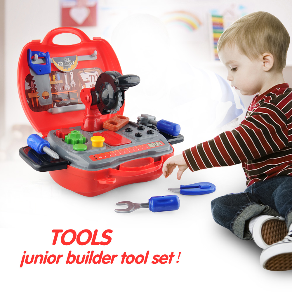 19Pcs/pack Children Tool DIY Sets Toys Construction Pretend Play Toys With Hard Case Xmas Birthday Gifts For Kids Role Playsets