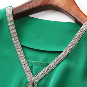 Image 5 - Chemise élégante, vêtements professionnels pour femmes, nouveau chemisier en mousseline de soie, manches courtes, grande taille, tendance, tempérament, été, collection hauts amples