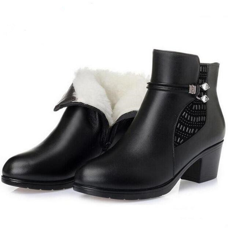 ZXRYXGS brand autumn winter shoes woman boots plus size anti-slip comfortable ankle boots cow leather shoes wool warm snow boots стоимость