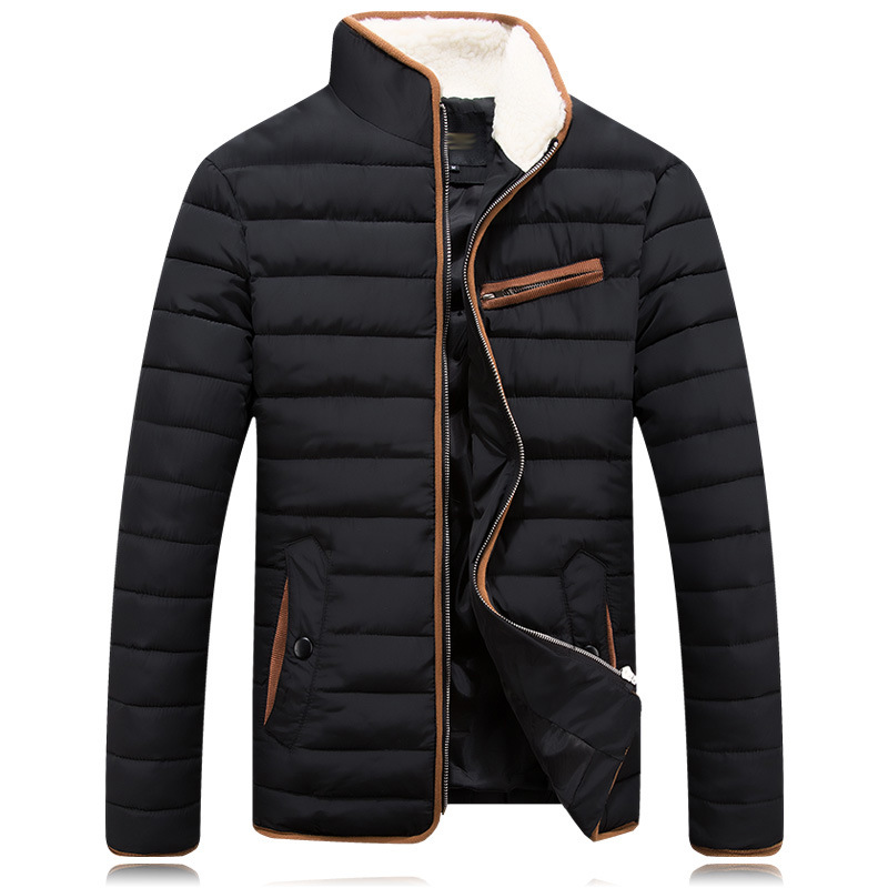 Winter Jacket Men 2016 Casual Solid Black Fashion Thick Cotton Plus Size M-XXXL Winter Coat Men Drop Shipping Y0812-97F free shipping the new winter 2016 men down jacket brand men s 90% feather coat more men with thick cotton padded jacket m xxxl