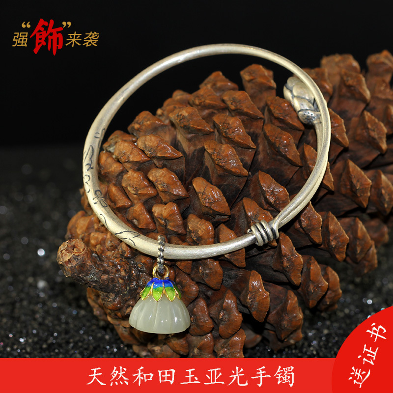 Sterling silver products S990 silver jewelry Yaguang crafts national wind lady and Tian Yulian BraceletSterling silver products S990 silver jewelry Yaguang crafts national wind lady and Tian Yulian Bracelet