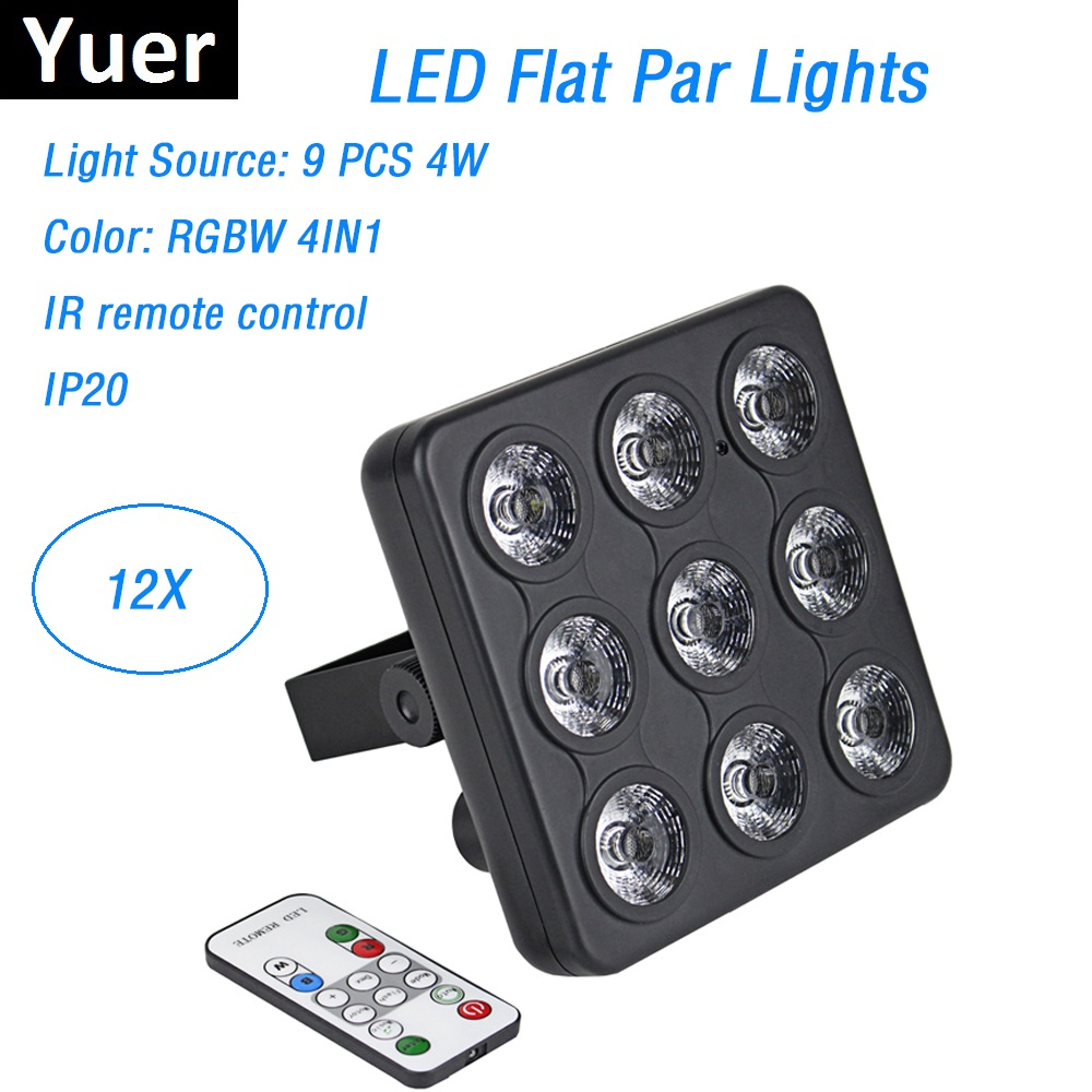 Responsible Dj Lighting Equipments 9x4w Rgbw 4in1 Led Panel Shows Led Dmx Flat Par Lights With Dmx Remote Control Perfect For Disko Topu A Plastic Case Is Compartmentalized For Safe Storage Commercial Lighting