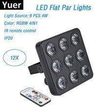Dj aydınlatma ekipmanları 9X4W RGBW 4IN1 LED Panel gösterileri LED DMX düz Par ışıkları DMX/ uzaktan kumanda için mükemmel disko topu
