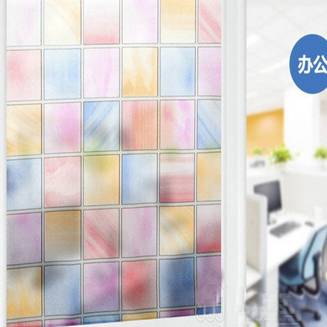 Decorative frosted glass anti uv window stickers self adhesive home decor film wintersweet color