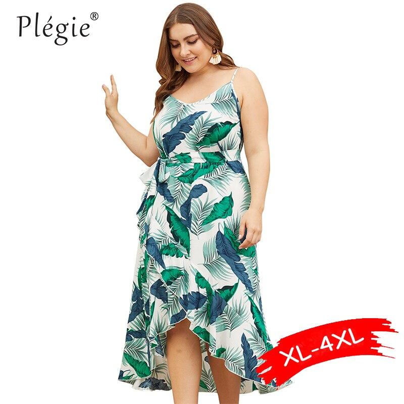 Женское платье с принтом зеленых листьев, Бандажное платье с открытой спиной на бретельках, платье с оборками, большие размеры, лето 2019