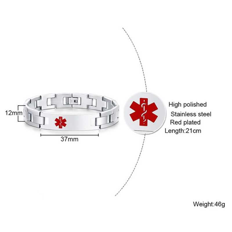 Livre gravura médica alerta pulseira para homens pulseira de aço inoxidável corrente de emergência masculino jóias