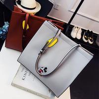 جديد أزياء حمل حقيبة المرأة حقائب الجودة بو الجلود الكرتون الطباعة ميكي فتاة الكتف حقيبة ذات قدرة كبيرة بسيطة