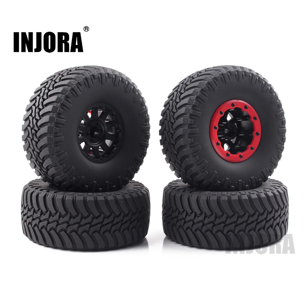 INJORA 4PCS 2.2 Rubber Tires & Beadlock Wheel Rim for 1/10 RC Rock Crawler Axial SCX10 Wraith RR10 Yeti mxfans rc 1 10 2 2 crawler car inflatable tires black alloy beadlock pack of 4