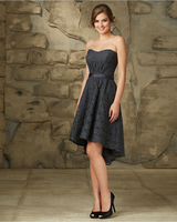 Hot Sale Personality Elegant Chic Dark Gray Lace Belt Decorated High Low Bridesmaid Dress 2016 High