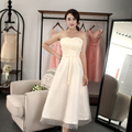 fashion brides maid bridesmaid strapless tulle champagne dresses girl bridesmaids short dresses for weddings from china H3840
