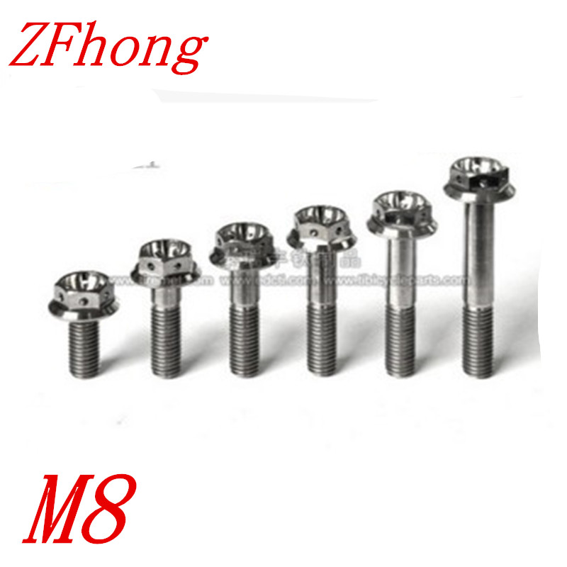 5pcs Ti <font><b>Bolt</b></font> <font><b>M8</b></font>*15/20/25/30/35/40/45/50 <font><b>M8</b></font> titanium Hex Head Flange <font><b>Bolt</b></font> Screw Fastener, titanium bike parts, image