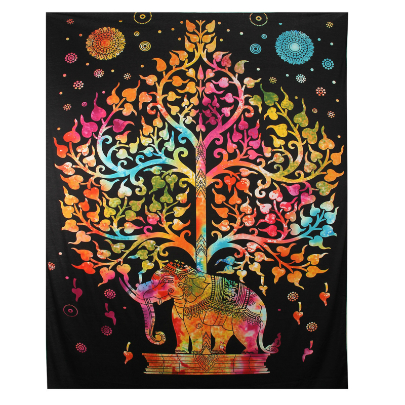 New Tapestry Indian Elephant Mandala Hippie Wall Hanging Tapestry Gypsy Bedspread Throw Printed Decorative Tapestry wholesale