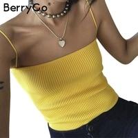 BerryGo Fashion Yellow Crop Top Camisole Female Sexy Knitting Women Tank Top Tees Streetwear Slim Elastic