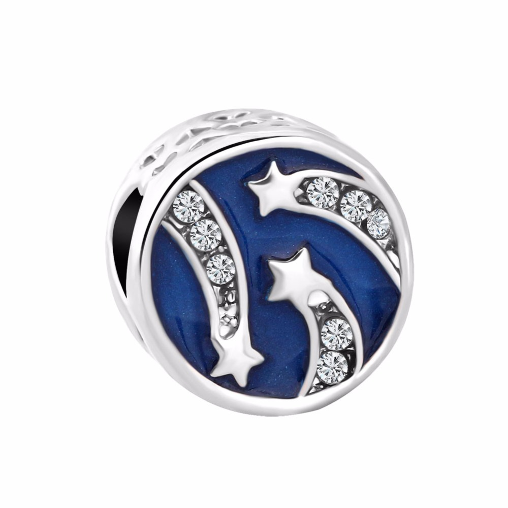 Free Shipping 1pc 2018 Spring New Silver Dark Blue Meteor Star Diy Jewelry Bead Fits European Pandora Charm Bracelets A990 Beads Jewelry & Accessories