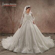 نموذج فاخر طويل القطار 2020 كم طويل فستان الزفاف جديد NS3440
