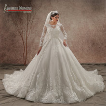 AMANDA NOVIAS Luxury Model Train Long Sleeve Wedding Dress
