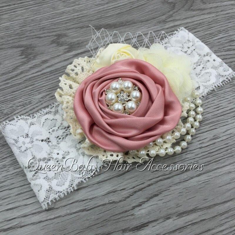 Reatil! Satin Flower Headband Matching Sparking Rhinestone Chiffon Flower Headband Lace Headband Baby Headband