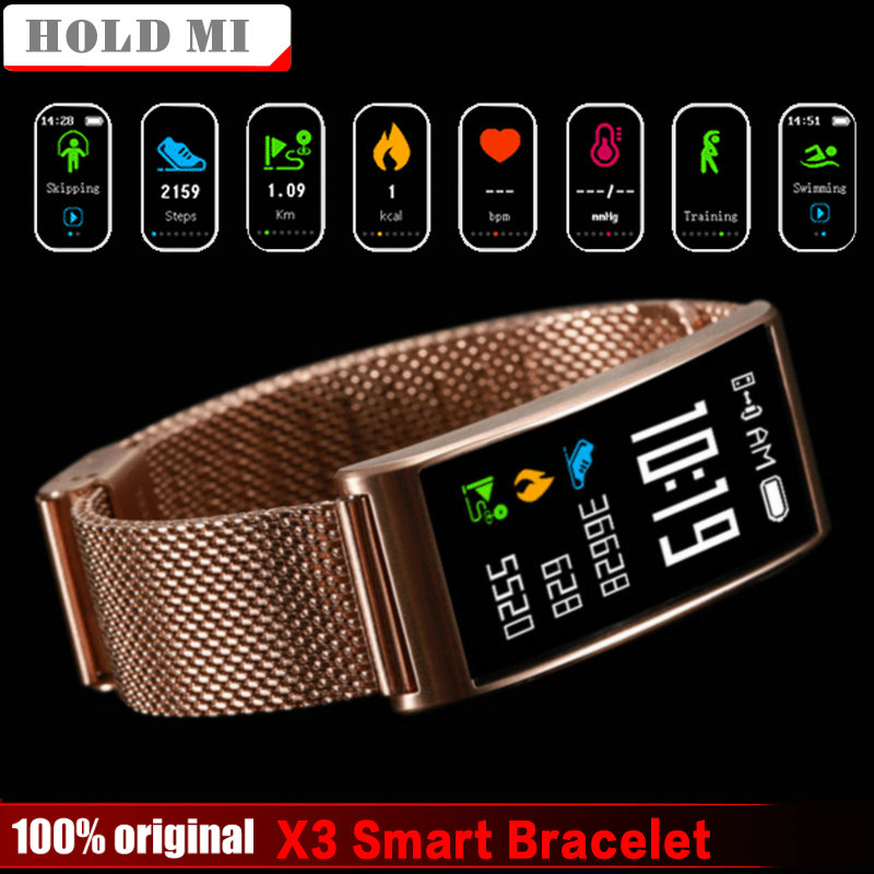 Hold Mi X3 IP68 Waterproof smart fitness bracelet pedometer blood pressure smart wristband Android iOS fitness tracker