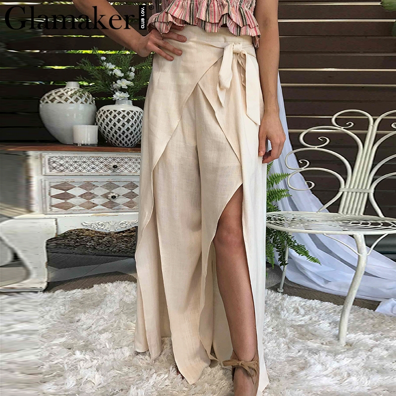 Glamaker Sexy split   wide     leg     pants   bottom women Elegant elastic high waist bow tie trousers Summer casual holiday wrap   pants