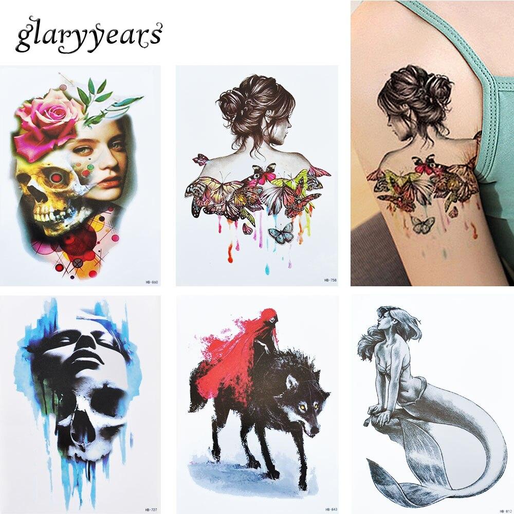 3 Unids/set HB Beauty Girl 15 Diseños Conjuntos Tatuaje Temporal A Prueba de agu