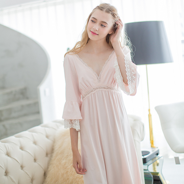 2017 New Sexy Nightgown Women's Sleep Cotton Nightwear Pink Deep V-neck Nightdress Elegant Lady Sleepwear Vintage Bedgown
