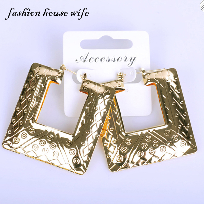 Fashion House Wife Hiphop Gold Geometric Square Hoop Earring Big Large Basketball Wives Earring Jewelry Party Gift LE0042