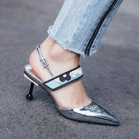 Hanbaidi Sexy Patent Leather wedding Shoes kitten heels sandals women pointed toe back strap magic tape Summer shoes Women pumps