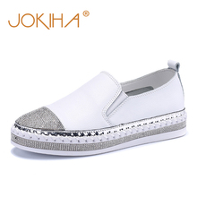 2019 Womens Espadrilles Flats Shoes Genuine Leather Loafers Shoes For Women Crystal Fashion Student Fisherman Footwear Shoes