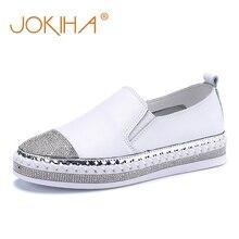 2019 alpercatas femininos apartamentos sapatos de couro genuíno sapatos para as mulheres de cristal moda estudante sapatos de pescador