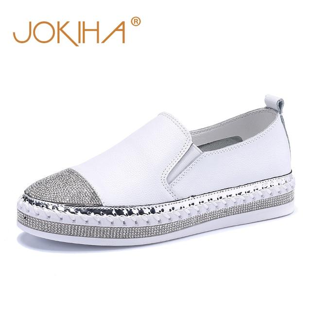 2019 נשים של נעלי בד דירות נעלי עור אמיתי נעלי מוקסינים לנשים קריסטל אופנה תלמיד דייג הנעלה נעליים