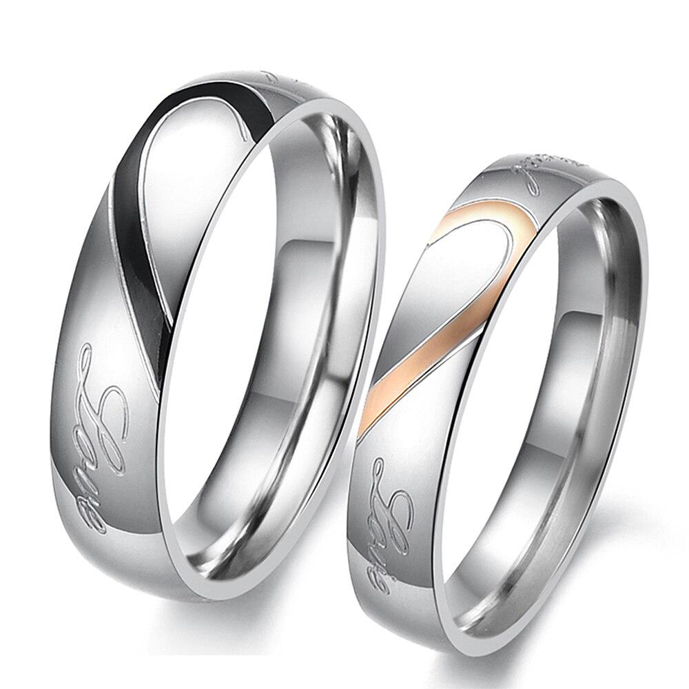 Набор обручальных колец в форме сердца из нержавеющей стали, эффектные кольца для влюбленных, модный подарок для влюбленных, женские аксесс