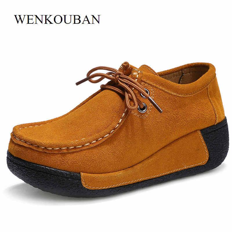 Chaussures en cuir femmes appartements chaussures à plate-forme mocassins Creepers chaussures de Wedage décontracté dames mocassins à lacets Sapato Feminino
