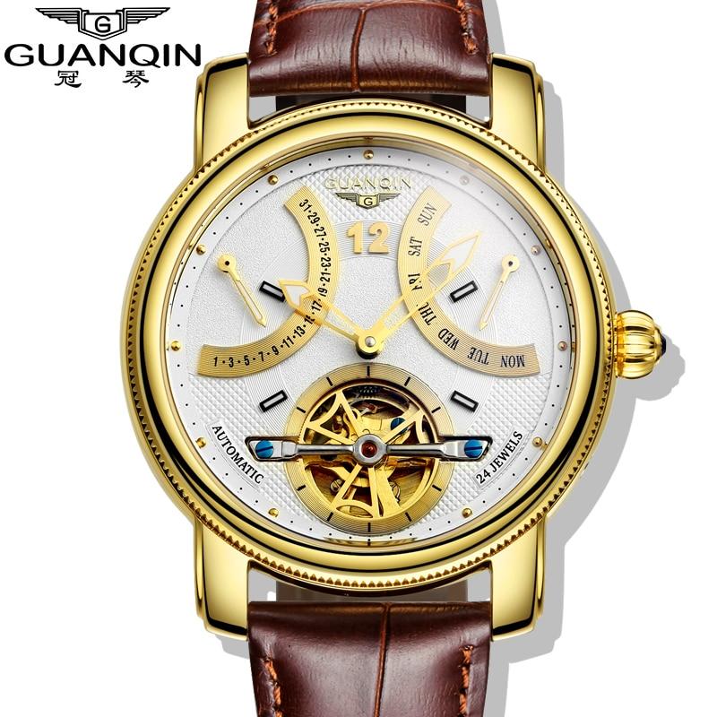 2016 Luxury Brand GUANQIN Automatic Mechanical Watches Men Waterproof Luminous Tourbillon Watch Calendar Leather Gold Wristwatch цена 2017