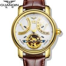 2016 Marca de Lujo GUANQIN Tourbillon Relojes Mecánicos Automáticos de Los Hombres A Prueba de agua Luminoso Calendario Reloj de Cuero Reloj de pulsera de Oro