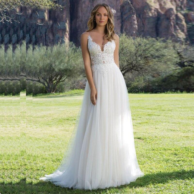 2019 Spaghetti Strap Princess Wedding Dress V Neck Appliques A-Line Lace Wedding Gowns Vestidos De Novia Free Shipping