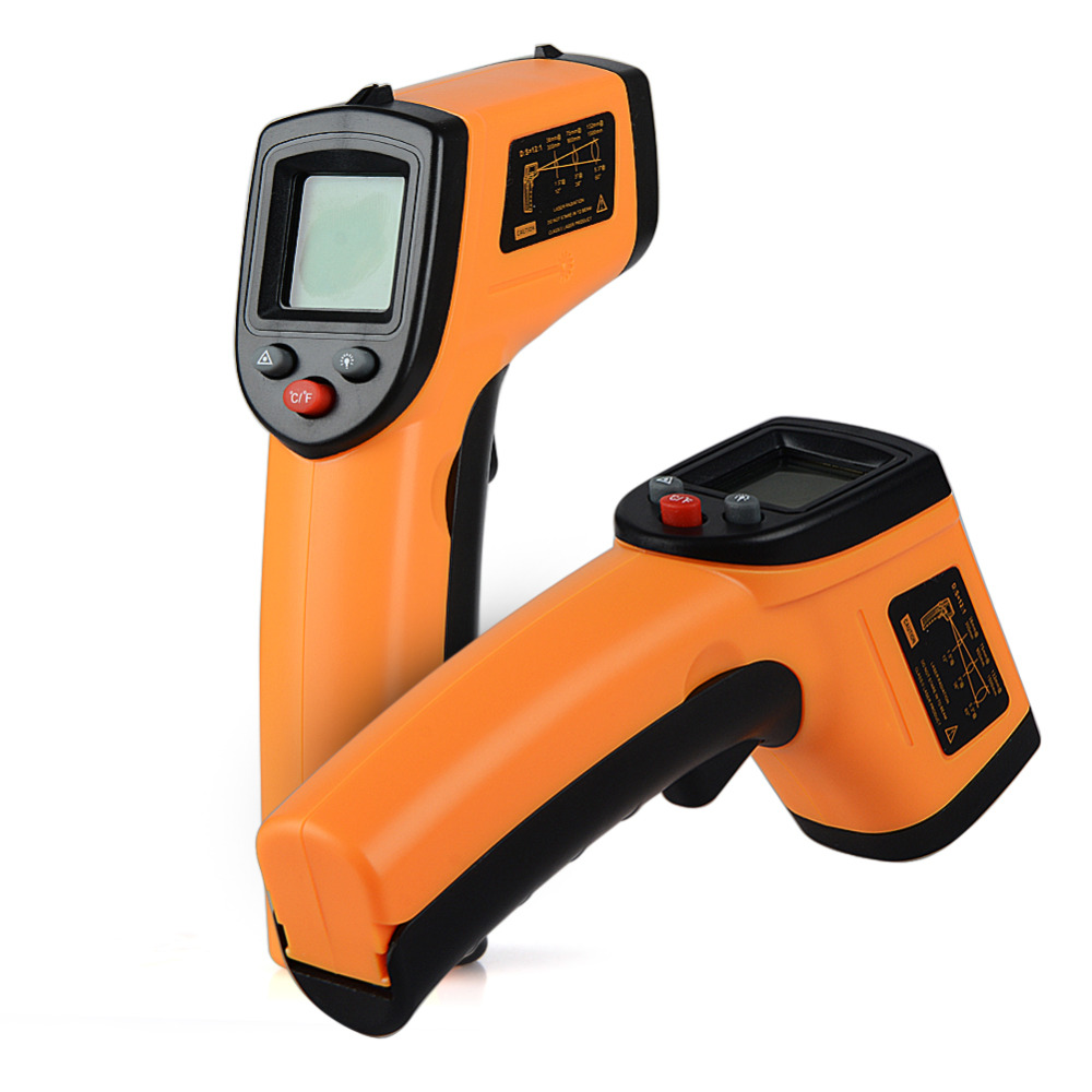Non-Contact Laser LCD Display IR Infrared Digital Selection Surface Temperature Thermometer For Industry Home Use -50~380 Degree 1pc colorful lcd display infrared thermometer non contact digital ir laser thermometer 30 300degree for bside btm21a