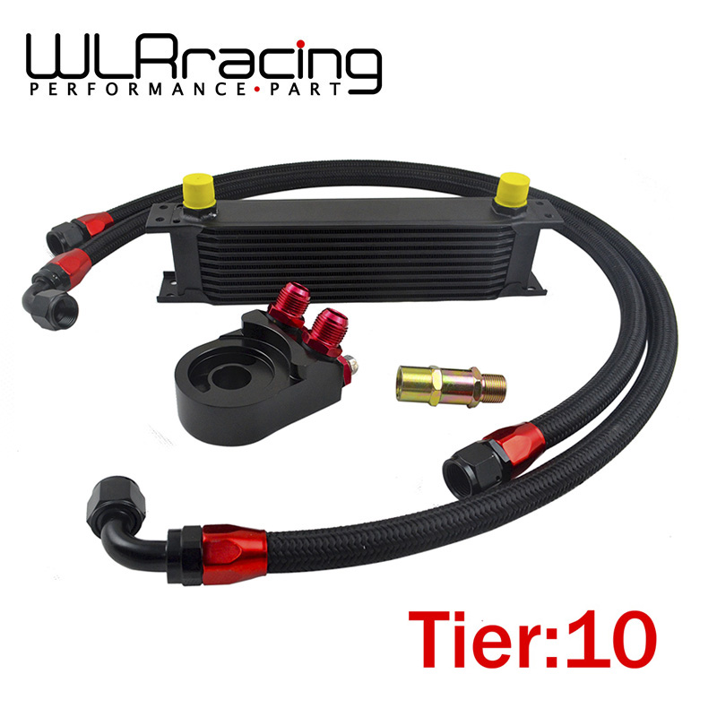WLR Universal 10 ROWS OIL COOLER ENGINE + AN10 Oil Filter Cooler Sandwich Plate Adapter Black + 2PCS NYLON BRAIDED HOSE LINE