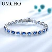 UMCHO Blue Spinel Bracelets for Women Genuine 925 Sterling Silver Jewelry Romantic Birthstone Gemstone Tennis Bracelet Jewelry