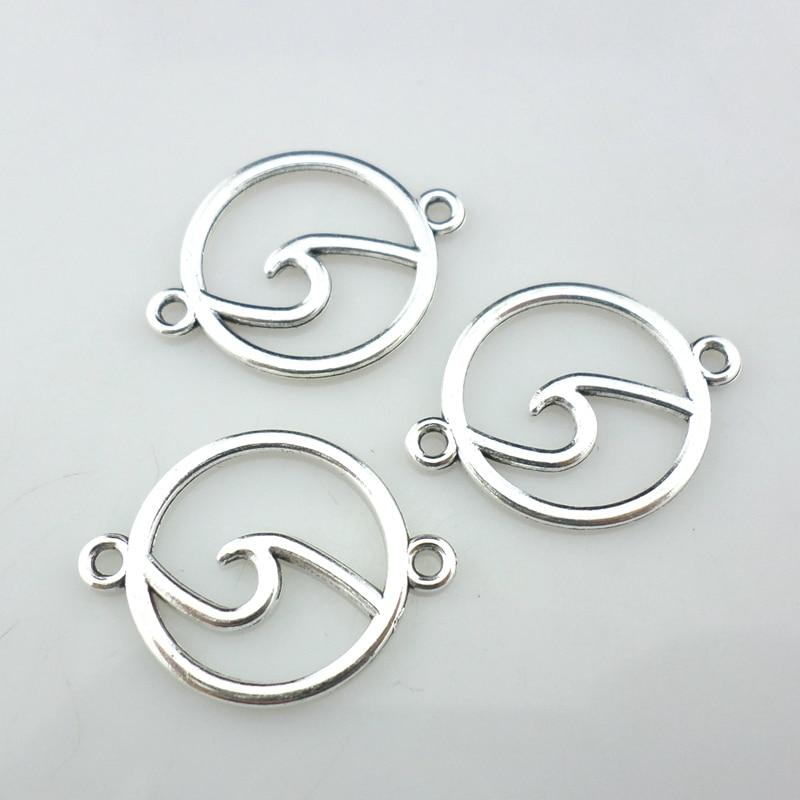 12PCS Tibetan Silver Wave Pendant Charms Bracelet Necklace Beads Crafts Jewelry