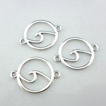 Conector de encantos tibetano oceano prata, 24 peças, pingentes 20x26mm, diy, pulseira, colar, fabricação