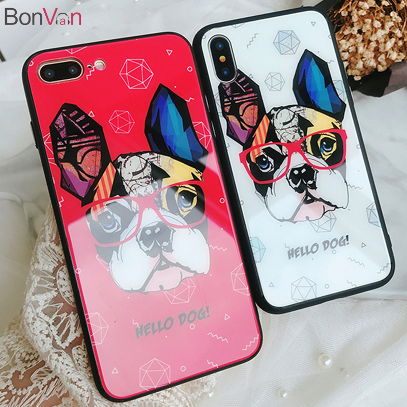 BONVAN Tempered Glass Case For iPhone 7 6S 8 Plus 6 Plus Soft Silicone Bumper For iPhone X Cases Cute Cartoon Bulldog Back Cover