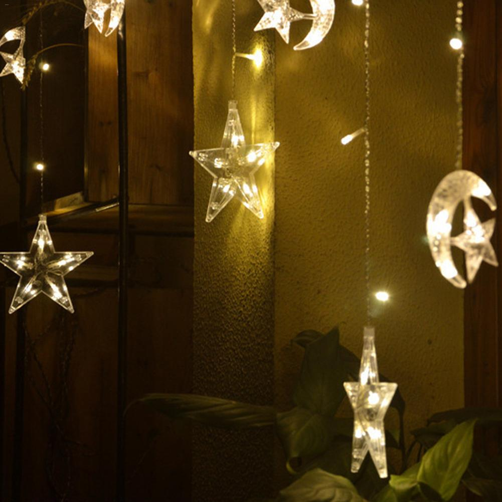 Led Stars Moon Colorful Curtain Lights Intelligent Remote Control, Third Gear Dimming, Third Gear Timing