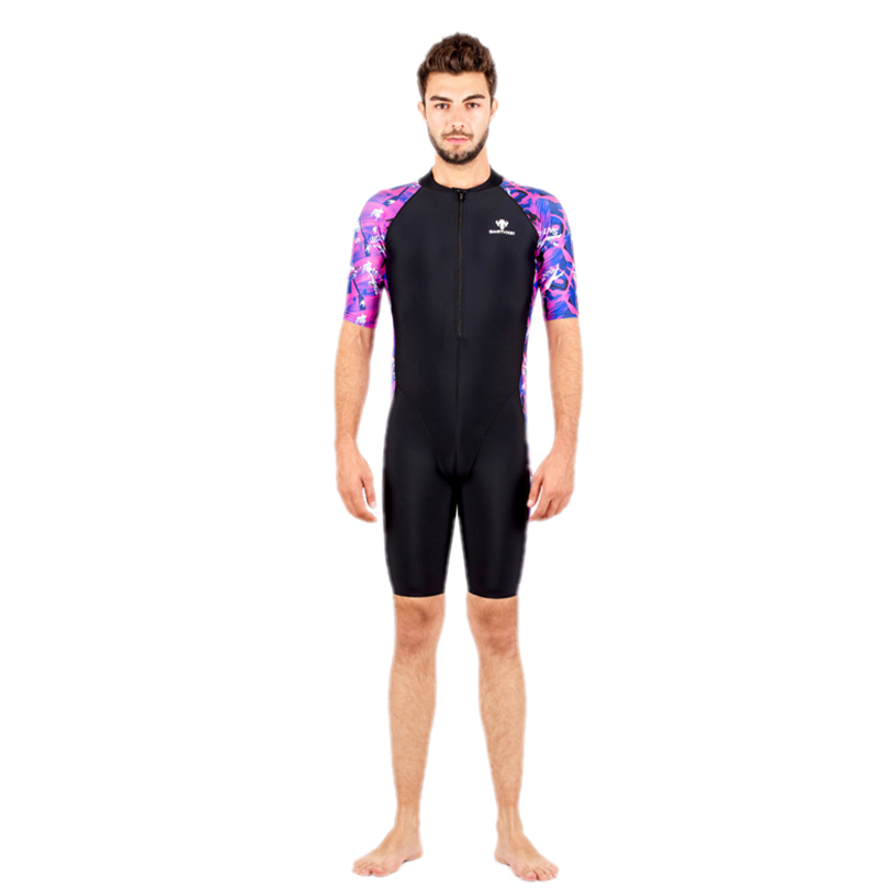 HXBY Floral Printed One Pieces Swimsuit Men Professional Racing One Piece Swimwear Short Sleeve Black Blue Purple Swimming suit competition racing one piece swimsuit
